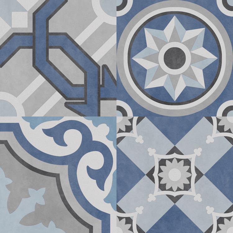 Bouquet Caribe Patch 9.5x9.5, Glazed, Square, Porcelain, Tile
