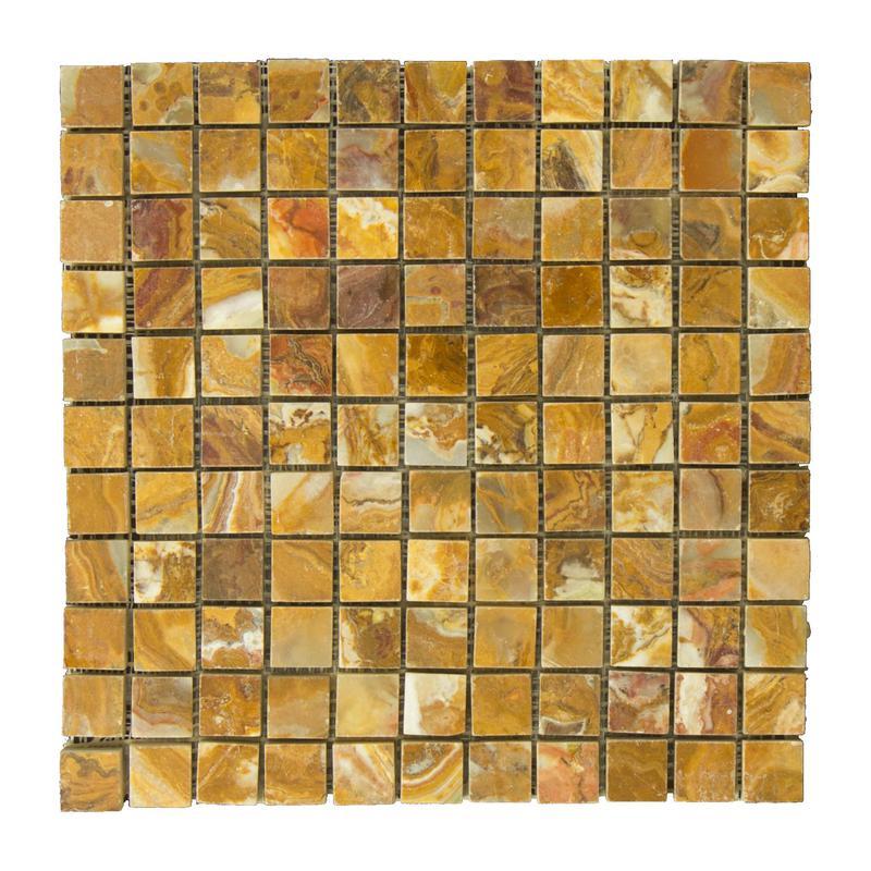 Onyx Multi Brown 1x1 Square Polished   Mosaic