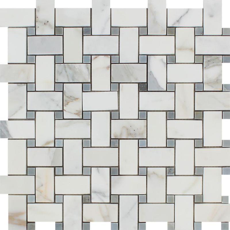 Marble Calacatta Gold Basketweave W Grey Dot Honed   Mosaic
