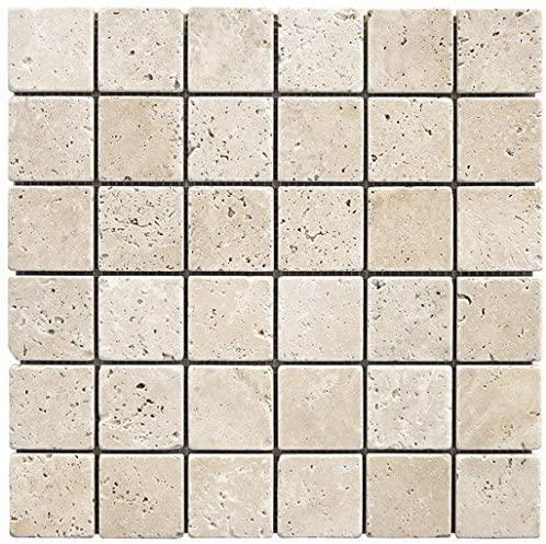 Tumbled Stone Chiaro 2x2 Square  Travertine  Mosaic