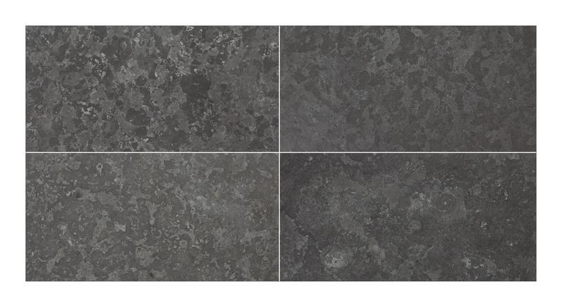 Noir Saint Clair Limestone Tile 12x24 Brushed   1/2
