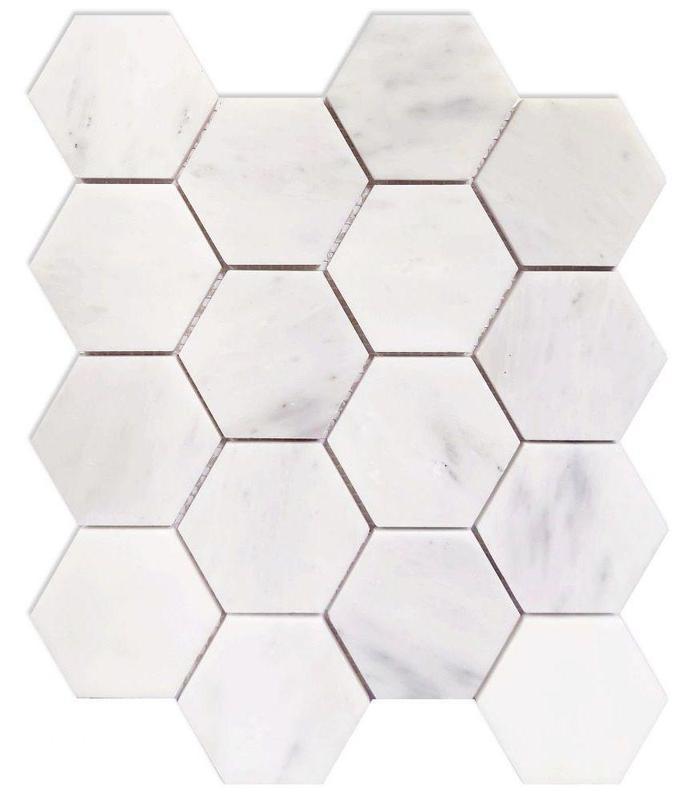 Hexagon Snow White 3x3  Polished Marble  Mosaic