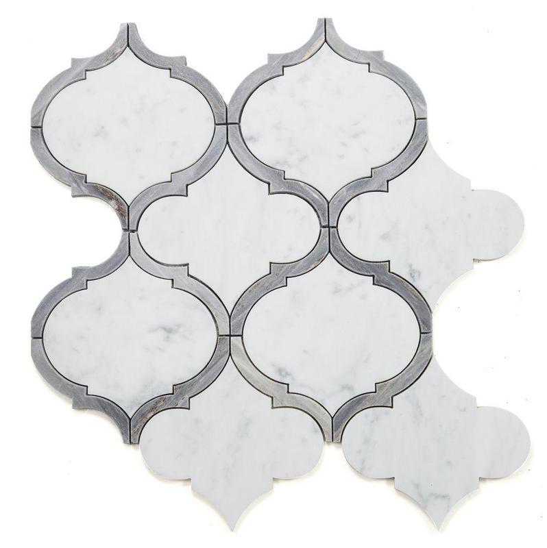 Alice Precious Sky Arabesque Polished Marble  Mosaic