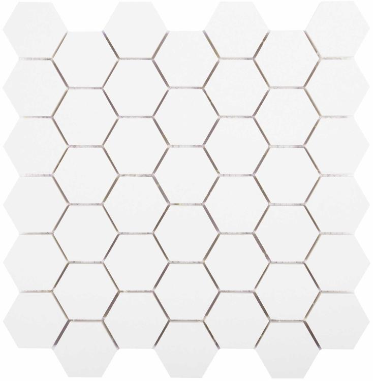 White Tile Super 2x2 Hexagon Polished Porcelain  Mosaic