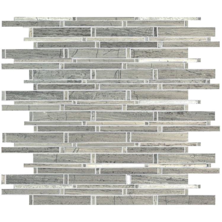 Precious Stone Gypsy Grey Linear Polished Marble  Mosaic