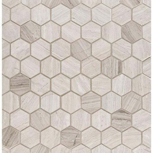 Marble Haisa Light 2 in Hexagon Honed   Mosaic (Special Order)