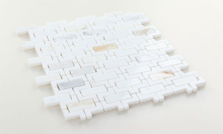 Louvre Aztec Calacatta Brick Polished Marble  Mosaic