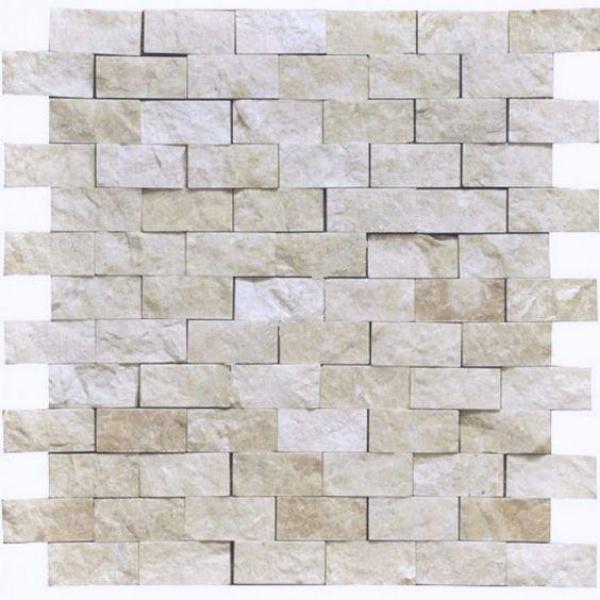White Pearl Turkish Botticino Marble 1x2 Brick Split-Face   Mosaic