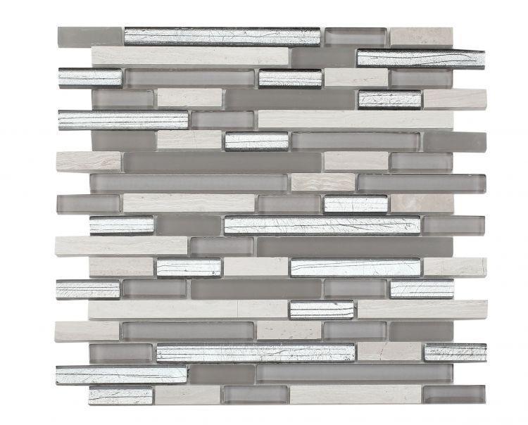 Linear Glass Inga Silver Mosaic