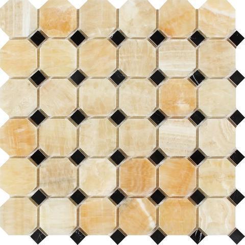 Honey Onyx Giallo Crystal W Black Octagon With Dot Polished   Mosaic