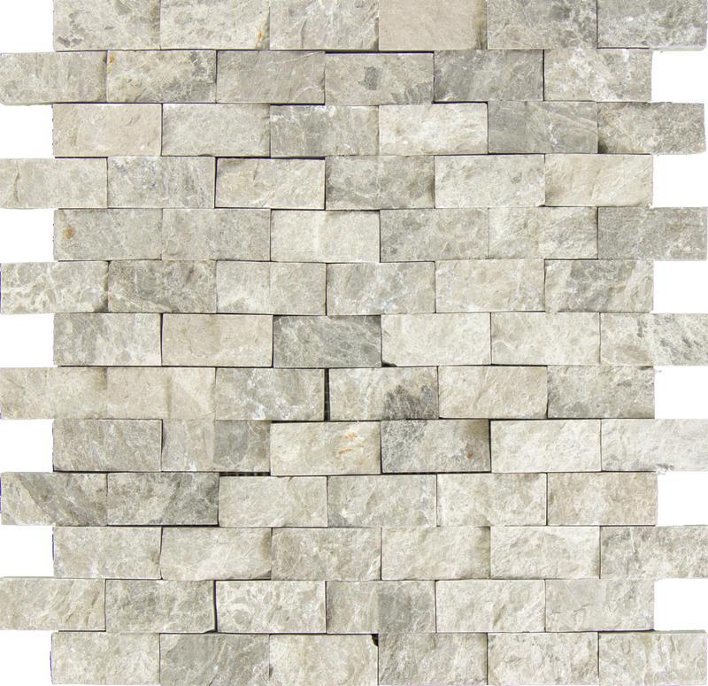 Marble Silver Tundra Grey 1x2 Brick Split-Face   Mosaic