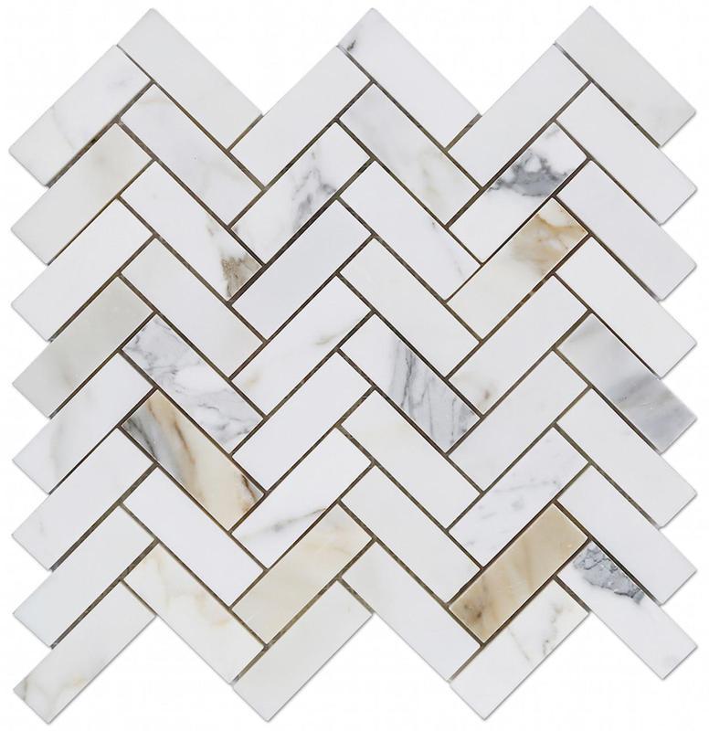 Marble Calacatta Gold 1x3 Herringbone Honed   Mosaic