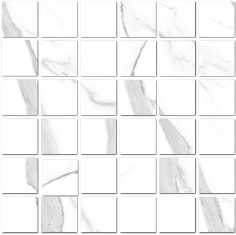 Vallelunga Statuario 2x2 Square Polished Porcelain  Mosaic