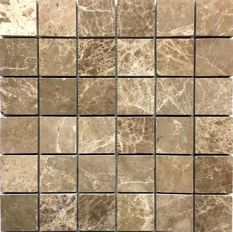 Emperador Light 2x2 Square Polished Marble  Mosaic