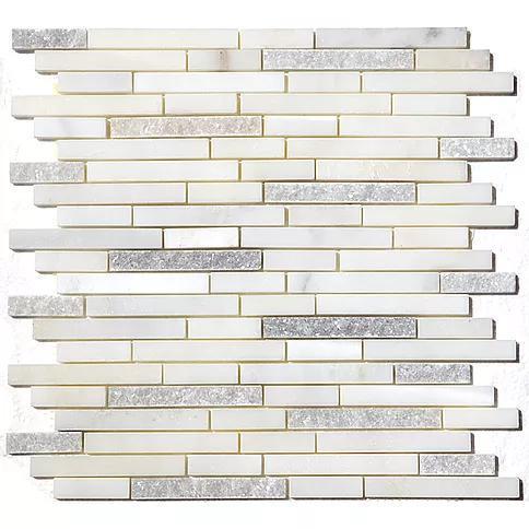 Stone Mosaic White Statuary Polished, Split-Face Marble