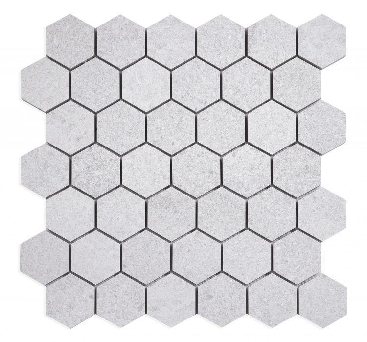 Grant Silver 2x2 Hexagon Matte, Glazed Porcelain  Mosaic