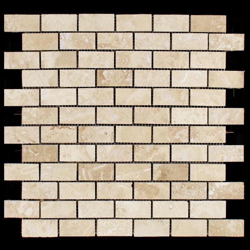 Ivory Premium 1x2 Brick Honed Travertine  Mosaic