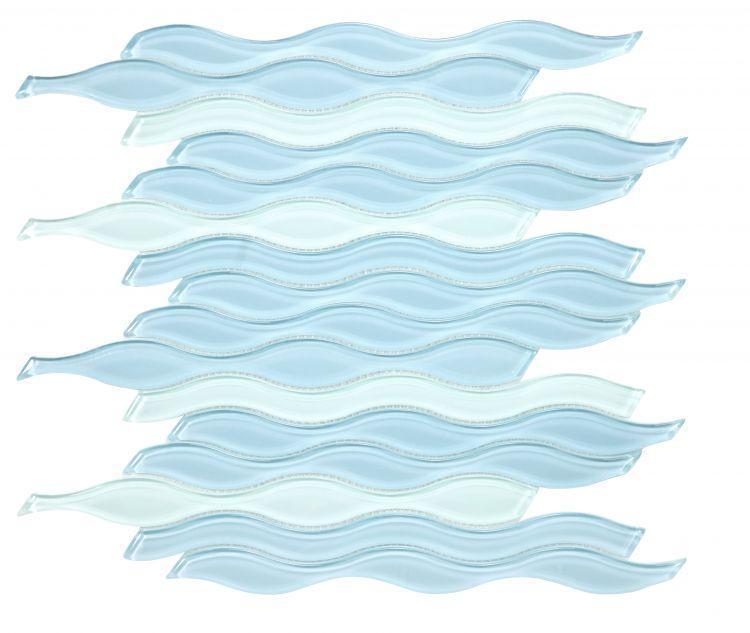 Water Sapphire Wavy Glossy Glass  Mosaic