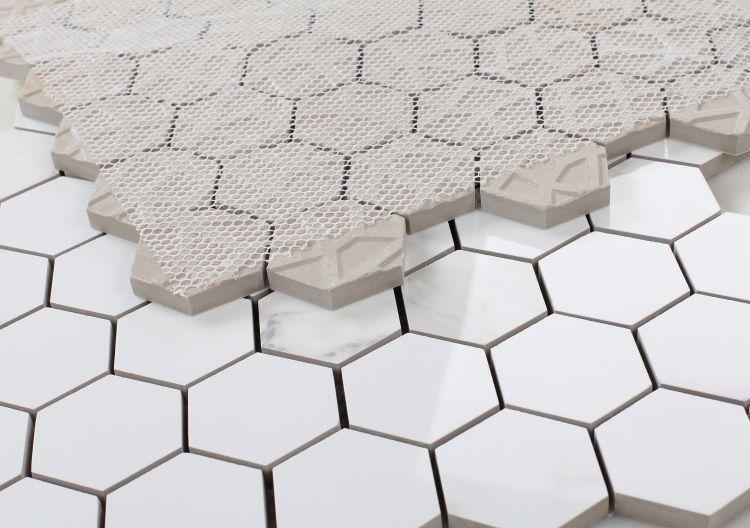 Elysium Tiles - Calacatta Dorado 2x2 Hexagon Polished, Glazed Porcelain  Mosaic