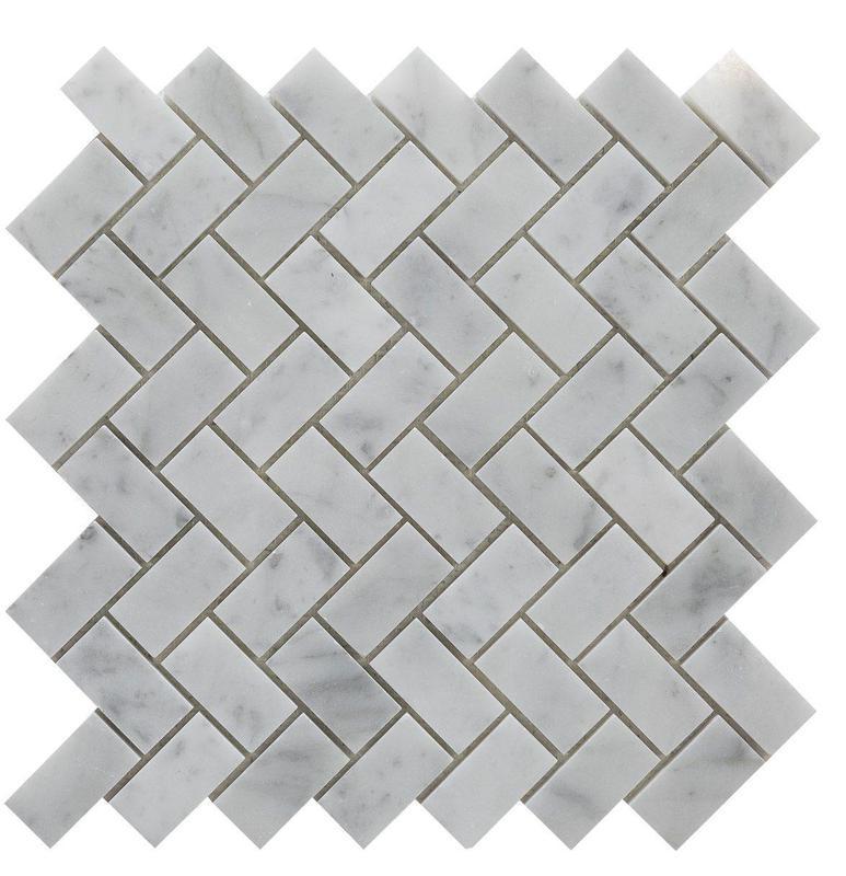 Marble Carrara White Herringbone 1x2  Polished   Mosaic