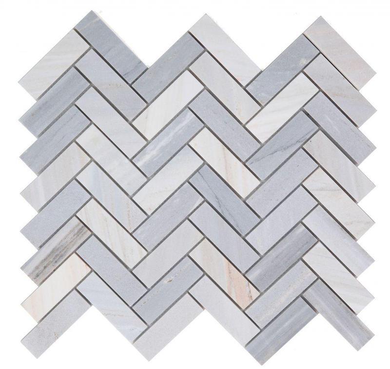 Chevron Herringbone Italian Blue Honed Marble  Mosaic