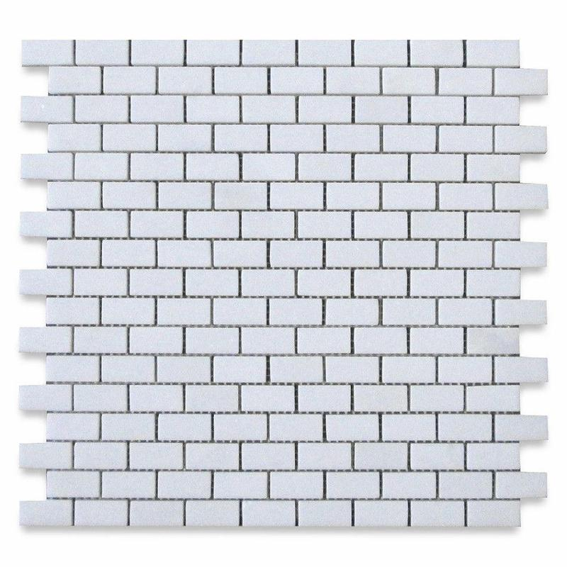 Marble Thassos White 0.63x1.25 Brick Honed   Mosaic