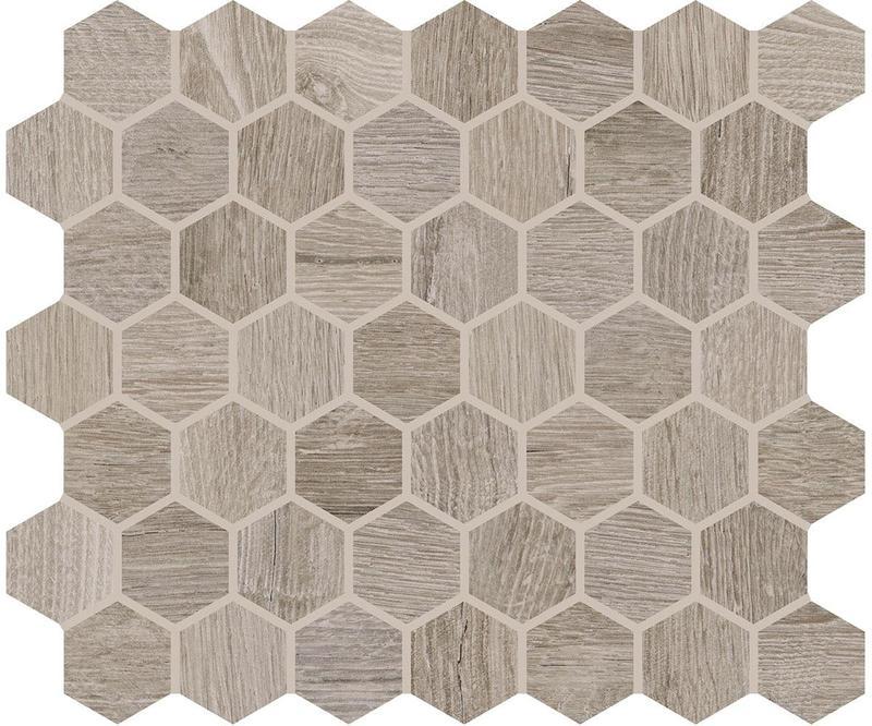 Waterwood Weathered Oak 1.5x1.5, Glazed, Hexagon, Ceramic, Mosaic