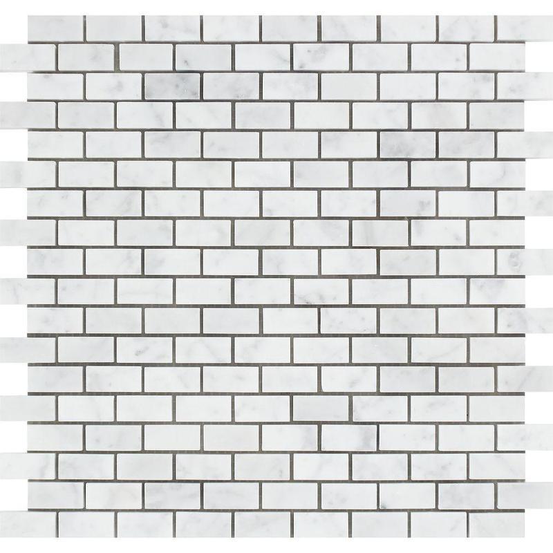 Marble White Carrara 0.63x1.25 Brick Honed   Mosaic