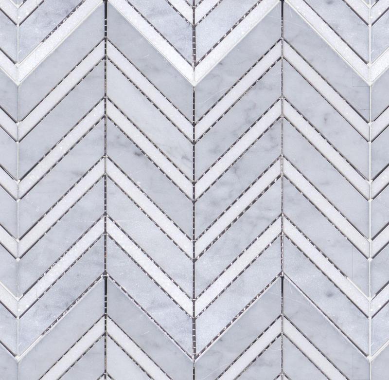 Marble White Carrara W Thassos Large 1x4 Chevron Polished   Mosaic