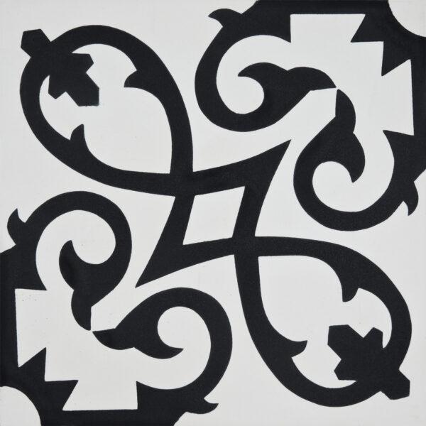 Agadir White Black 8x8, Unpolished, Square, Cement, Tile