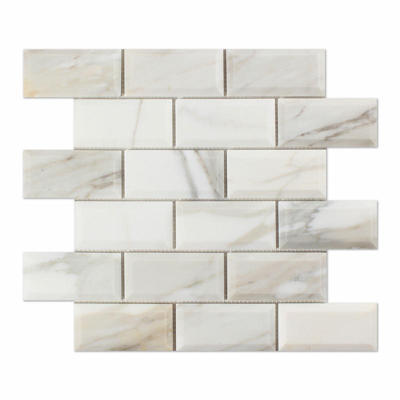 Marble Calacatta Gold Brick Beveled 2x4 Polished   Mosaic