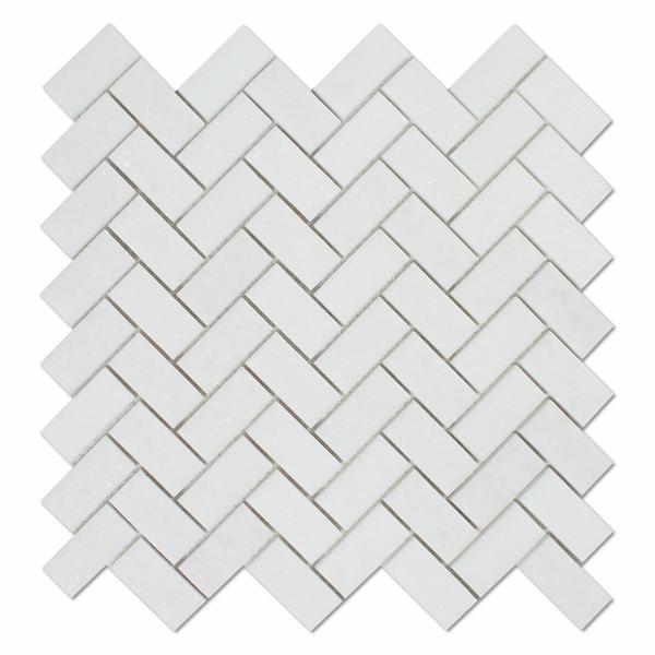 Marble Thassos White 1x2 Herringbone Honed   Mosaic