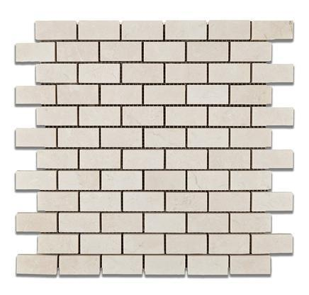 Marble Botticino Turkish 1x2 Brick Polished   Mosaic (Discontinued)