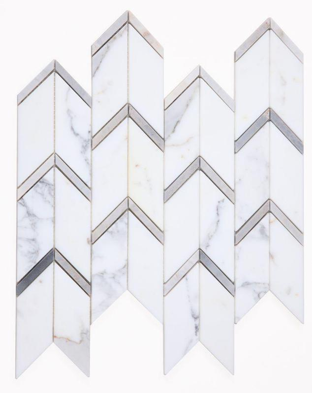 Chevron Herringbone Arrow Sky Polished Marble  Mosaic