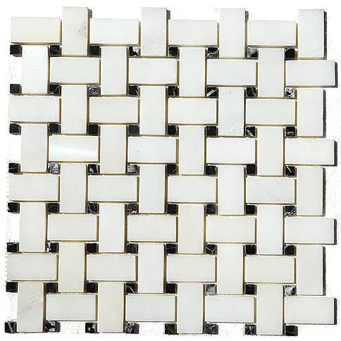 Stone Mosaic China White With Black Dot 1x2 Basketweave  Marble