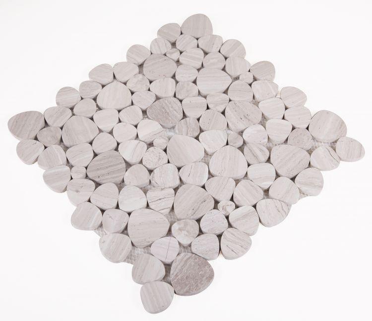 Aphrodite Grey Pebble Polished Marble  Mosaic