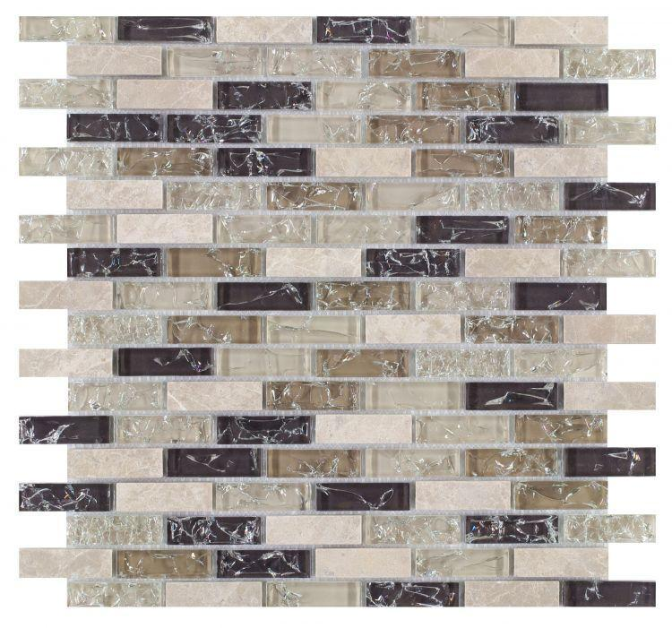 Icy Grey Linear, Stack  Glass  Mosaic