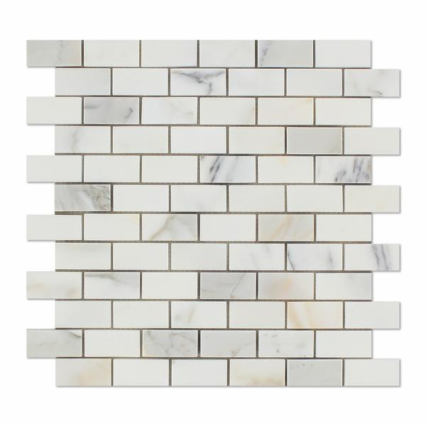 Marble Calacatta Gold 1x2 Brick Honed   Mosaic