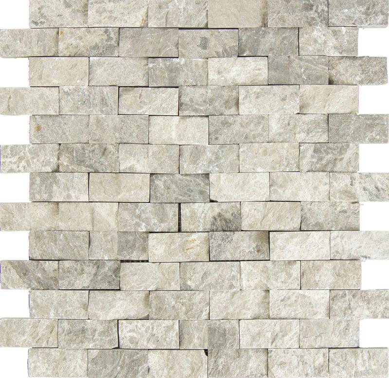 Marble Silver Tundra Grey 0.63x1.25 Brick Split-Face   Mosaic