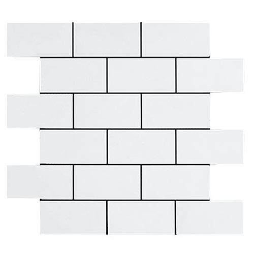 Marble Bianco Dolomite 1x2 Brick Honed   Mosaic