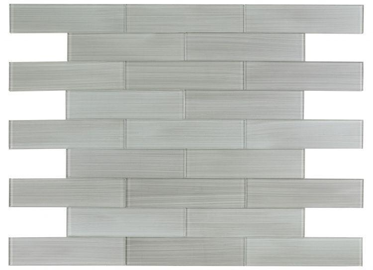 Large Glass Tile Lucy Silver Painting Subway Glossy   Mosaic