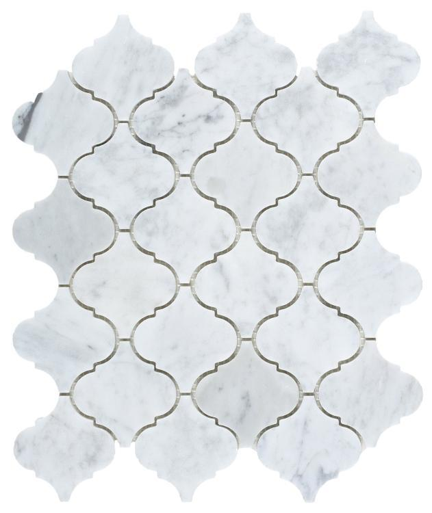 Precious Stone Carrara Arabesque Polished Marble  Mosaic