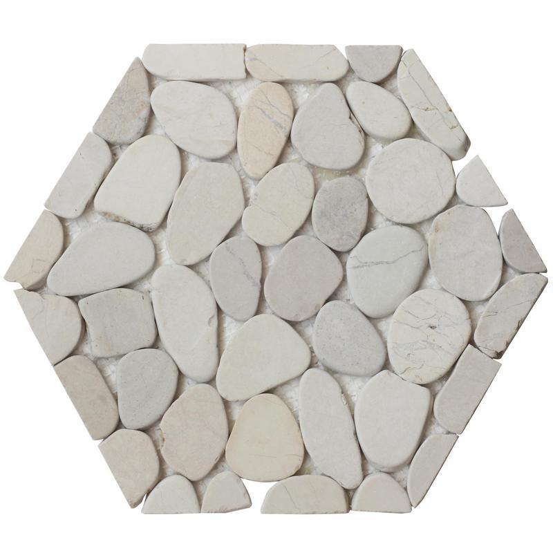 Pebble Mosaics Hexagon Timor White Matte   Mosaic