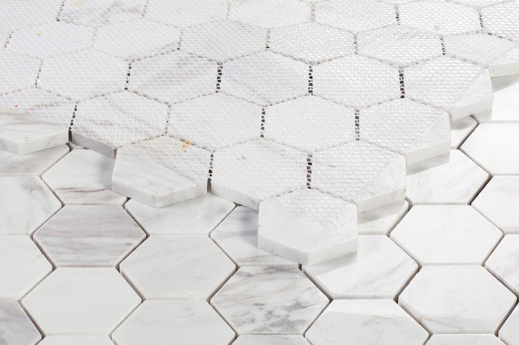Hexagon White 2x2  Polished Marble  Mosaic