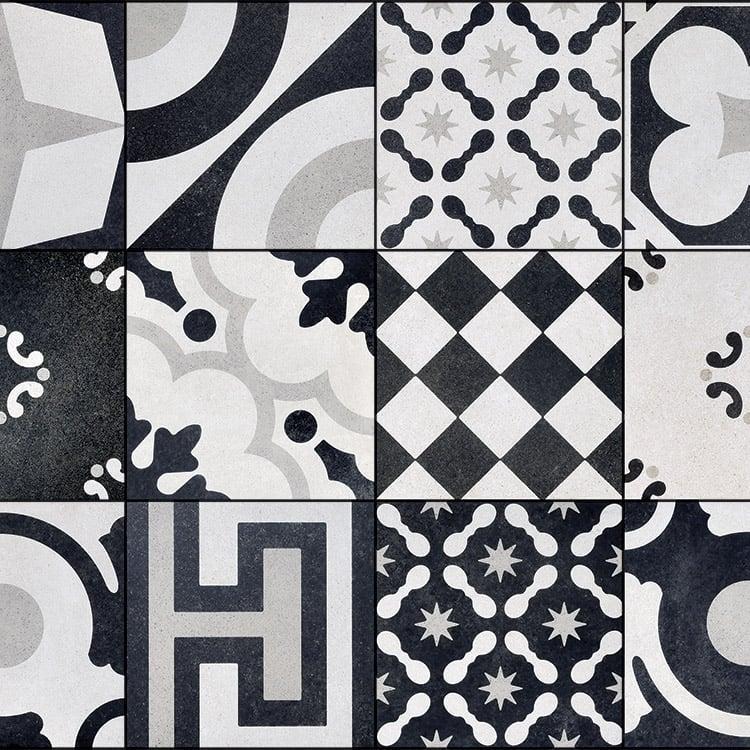 Cementine Black And White B W Mix 8x8, Glazed, Porcelain, Tile