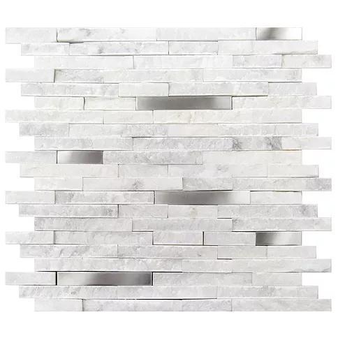 Stone Mosaic Carrara White 5/8x4  Split-Face Mixed