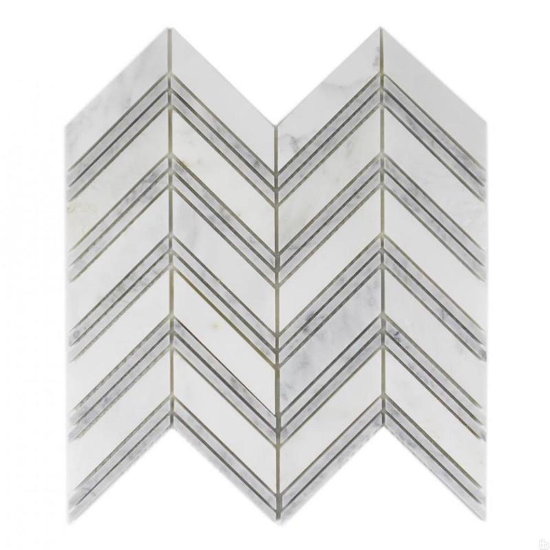 Marble Oriental White Chevron Mix W Grey Large Honed   Mosaic