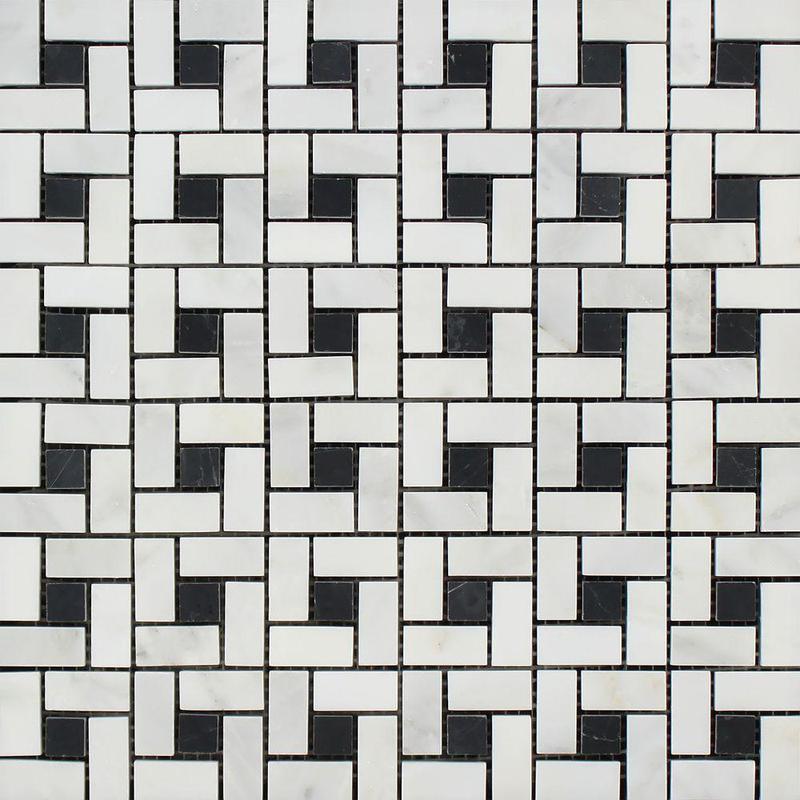 Marble Oriental White Pinwheel W Black Dot Polished   Mosaic