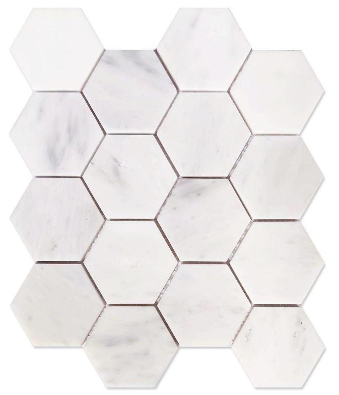 Hexagon Snow White 3x3  Honed Marble  Mosaic