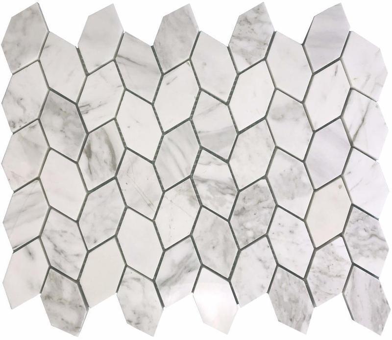 Stone Vine White Elongated Hexagon Honed Natural Stone  Mosaic
